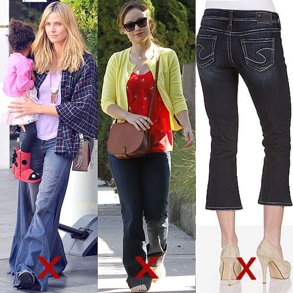 DON'T: flare jeans that need to be rehemmed, too short flare jeans, and flare capris