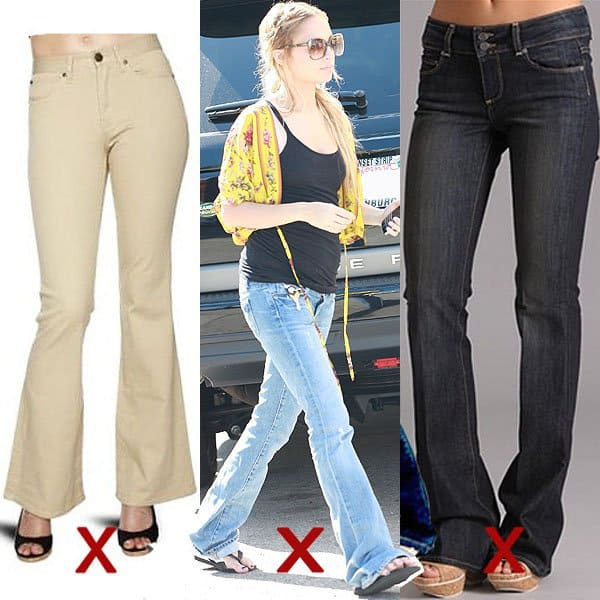 DON'T: too wide boot cuts and too short or too long hem length