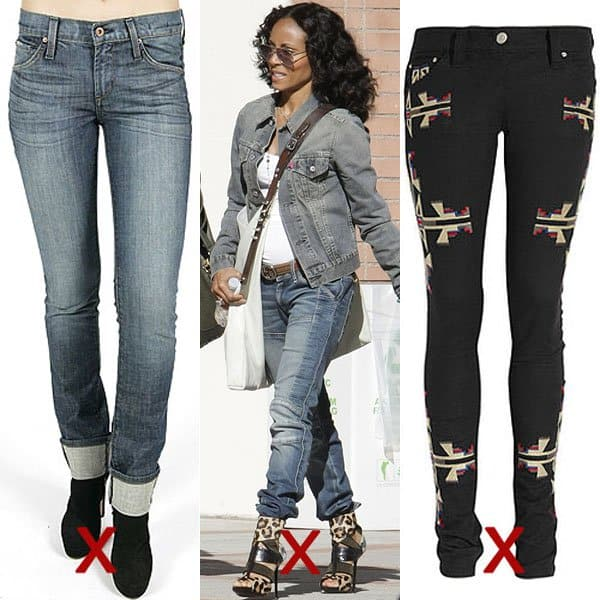DON'T: leg cuffs, too long and bunched up hems, and big embellishments