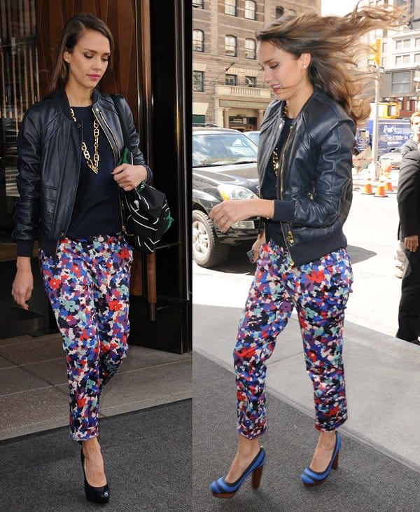 Jessica Alba wearing straight-leg sateen ankle Tory Burch 'Tribley' pants