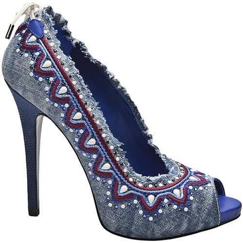 Gianmarco Lorenzi Denina Embellished Denim Pumps