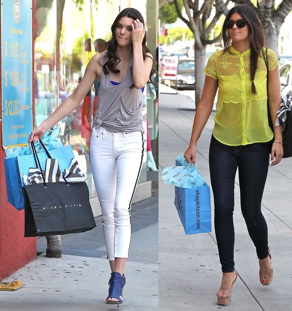 Kendall and Kylie Jenner out shopping on Robertson Boulevard, Los Angeles on June 14, 2012