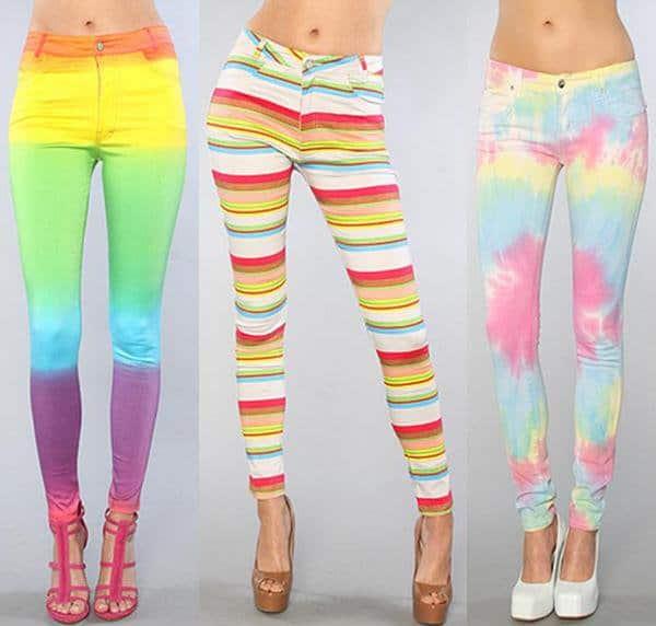 Motel The Jordan Jean in Rainbow Fade;Motel The Jordan Jean in Silver Rainbow;Tripp NYC The Rainbow Tie-Dye Jeans