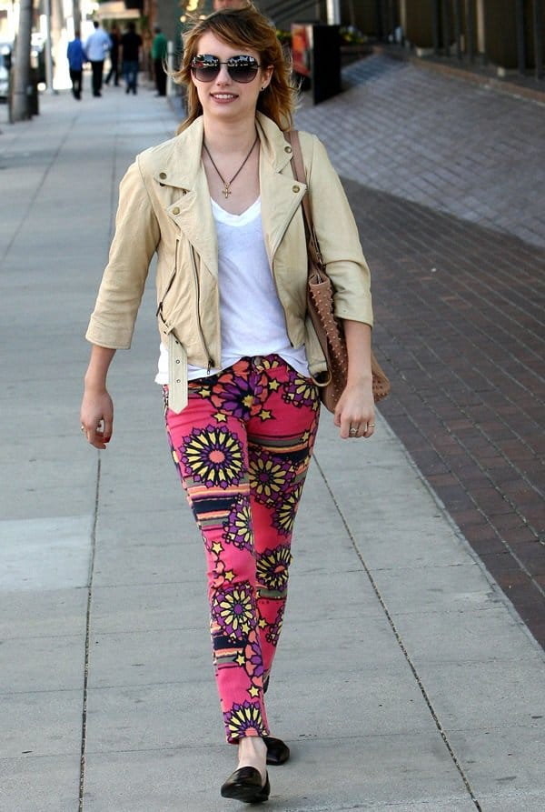 Emma Roberts wearing 70s psychedelic print pants