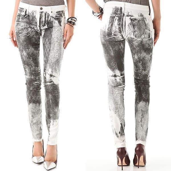 Helmut Lang Grain-Print Skinny Jeans in Black/White Multi