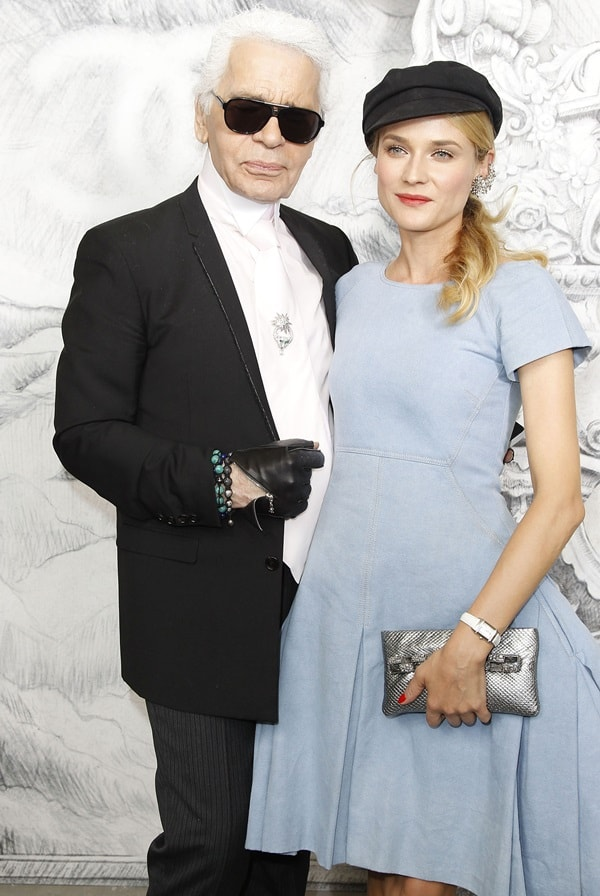 Diane Kruger and Karl Lagerfeld at the Paris Fashion Week Fall/Winter 2013 (Chanel) in Paris on July 3, 2012