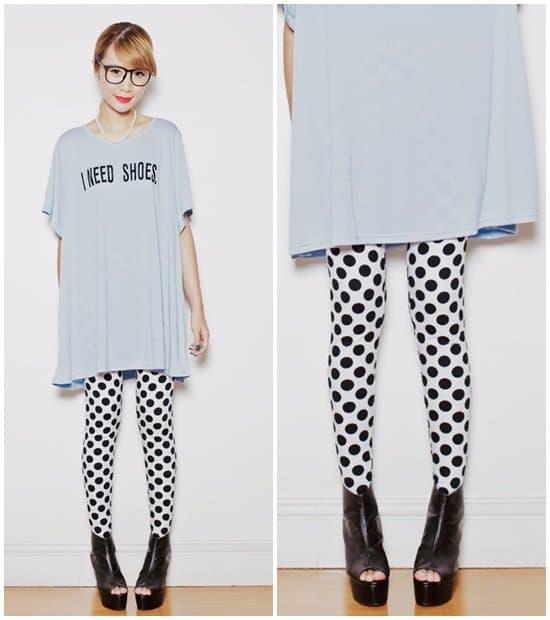 Tricia Gosingtian wearingpolka-dot pants withan oversized tee