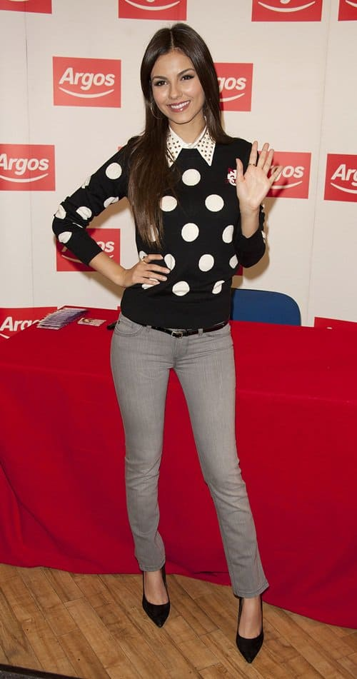 Victoria Justice meeting fans and signing copies of Victorious merchandise during her tour of the UK at Argos in London, England on September 23, 2012