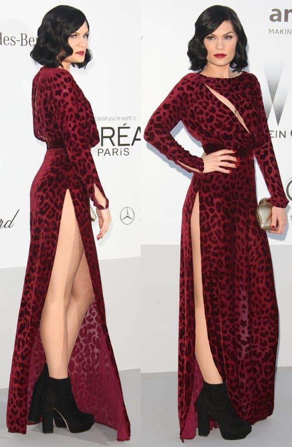 Jessie J donned an animal-print red velvet dress