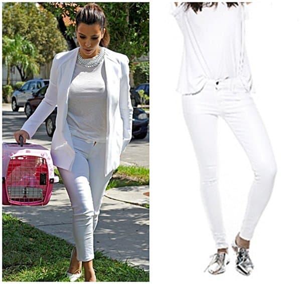 Kim Kardashian Wearing White Jeans