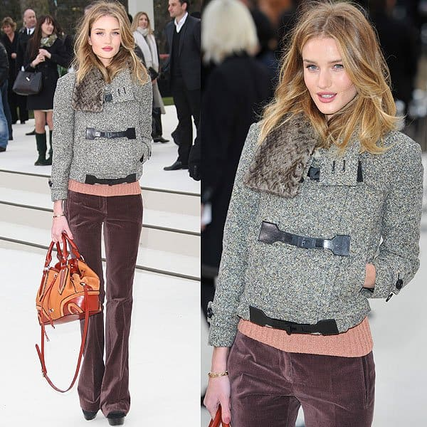 Rosie Huntington-Whiteley arriving for the Burberry Autumn/Winter 2012 presentation held during the London Fashion Week in London, England on February 20, 2012