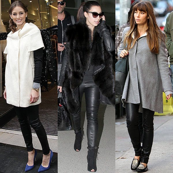 Celebrities wearing skinny leather jeans