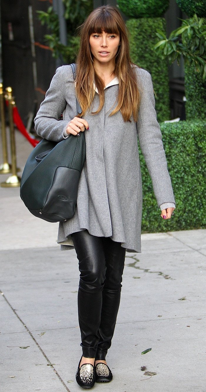 Jessica Biel styled her skinny leather jeans with Tod's Gommino Ricamo spray sequined loafers