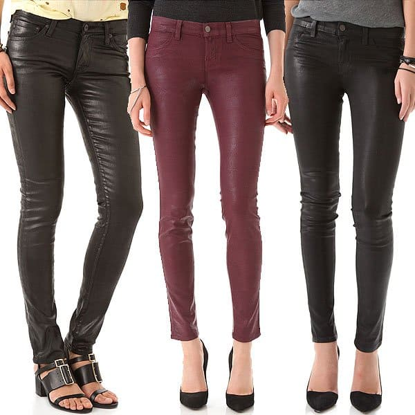 AG Adriano Goldschmied Leatherette Legging Jeans / J Brand 901 Coated Textured Super Skinny Jeans / J Brand 901 Waxed Legging Jeans