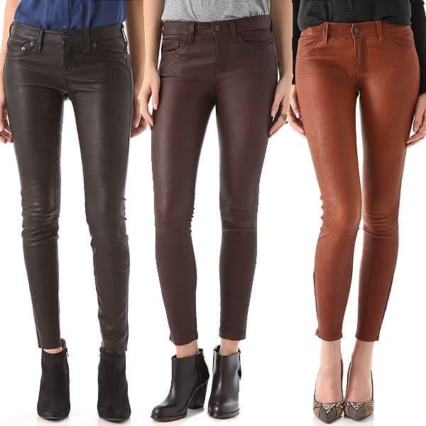 "True Religion ""Casey"" Leather Pants / Joe's Jeans ""The Skinny"" Leather Pants / J Brand Super Skinny Leather Pants, $1,142.07"