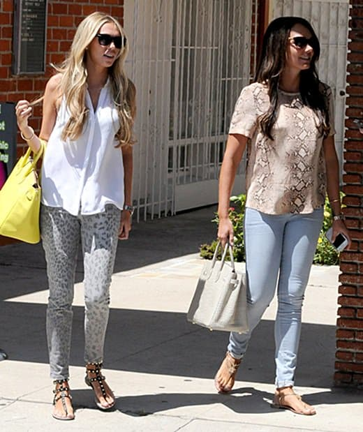 Petra and Tamara Ecclestone, British socialites shopping in Beverly Hills, Los Angeles