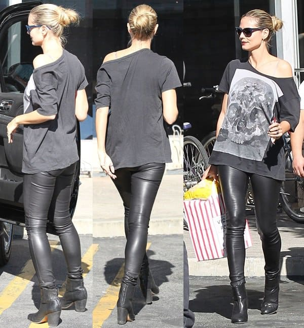 Hedi Klum styled black leather boots with skin-tight leather trousers