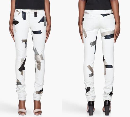 3 1 Phillip Lim Bleached Blue Chain Patchwork Jeans
