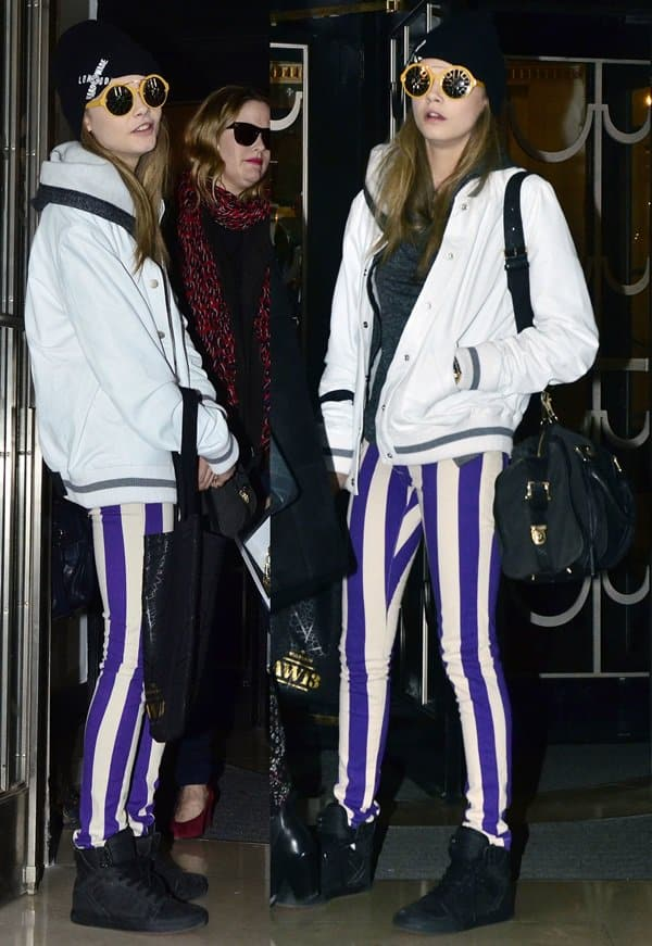 Cara Delevigne's striped skinny jeans from House of Holland