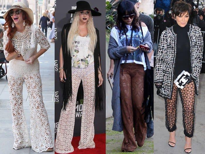 Celebrities wearing trendy lace pants
