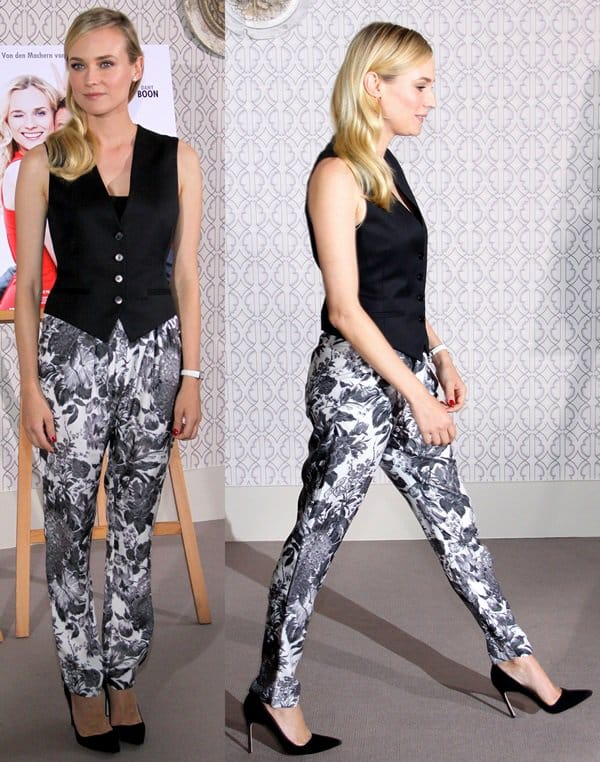 Diane Kruger wearing floral-printed Stella McCartney tapered pants