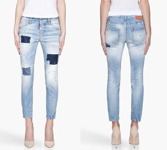 Dsquared2 Faded Blue Patched and Distressed Cool Girl Jean