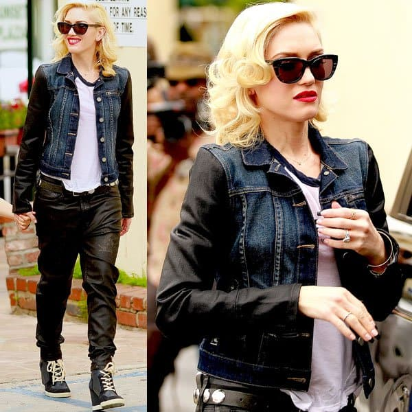 "Gwen Stefani wears a Paige ""Lenny"" denim jacket while leaving Sunset Plaza"