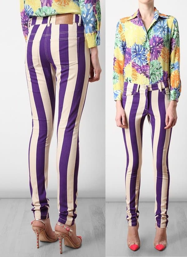 House of Holland Striped Skinny Jeans