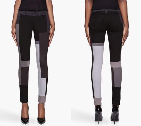 J Brand Grey Monochrome Patchwork Jeans