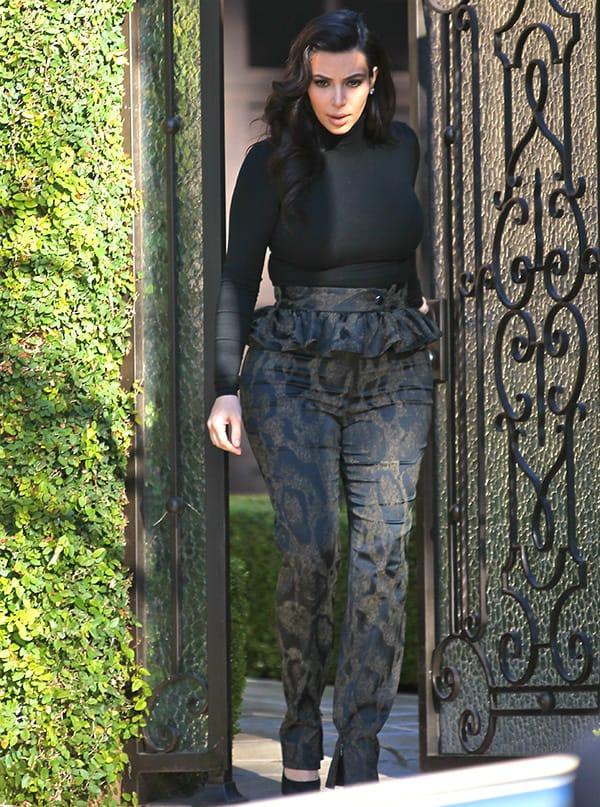 Kim Kardashian's animal print high-waisted peplum pants