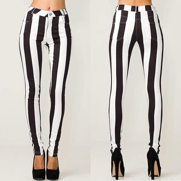 Motel Jordan skinny jeans black and white stripe