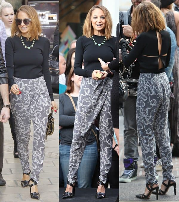 "Nicole Richie wearing Winter Kate ""Pandora"" pants during her guest appearance on Extra"