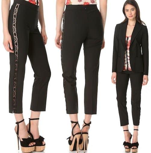 Jean Paul Gaultier Lace Stripe Pants in Black