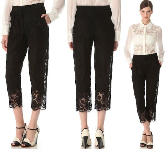 Sonia Rykiel Cropped Lace Pants in Black