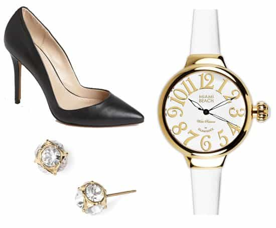 Charles by Charles David Pact Pumps / Miami Beach by Glam Rock Round Silicone Strap Watch / Kate Spade New York Glass Stone Stud Earrings