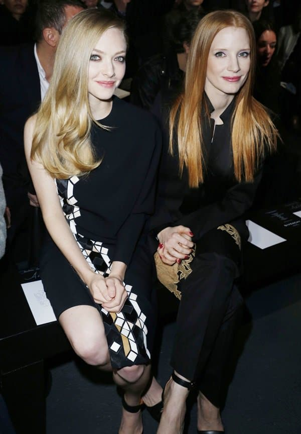 Amanda Seyfried and Jessica Chastain attend Givenchy Fall/Winter 2013 Ready-to-Wear show