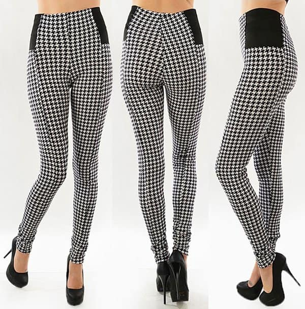 Ariana Apparel Sexy Black & White Houndstooth-Print High-Waist Pants/Leggings with Elastic Sides