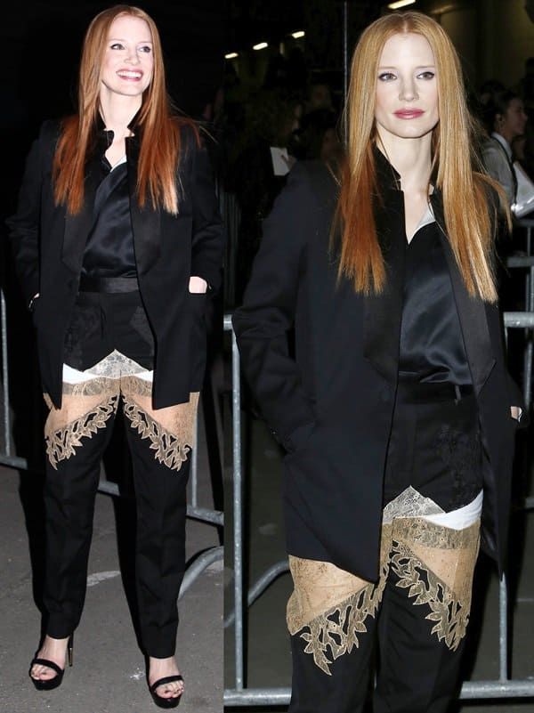 The lace insets of Jessica Chastain's pants exposed part of her thighs