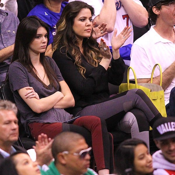 Kendall Jenner and Khloe Kardashian watching the Los Angeles Clippers vs. Memphis Grizzlies game