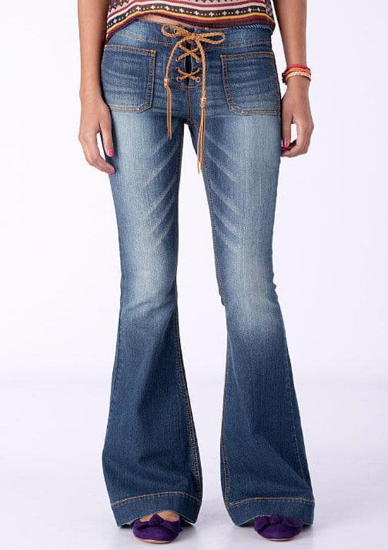 Lace Tie Flare Jeans
