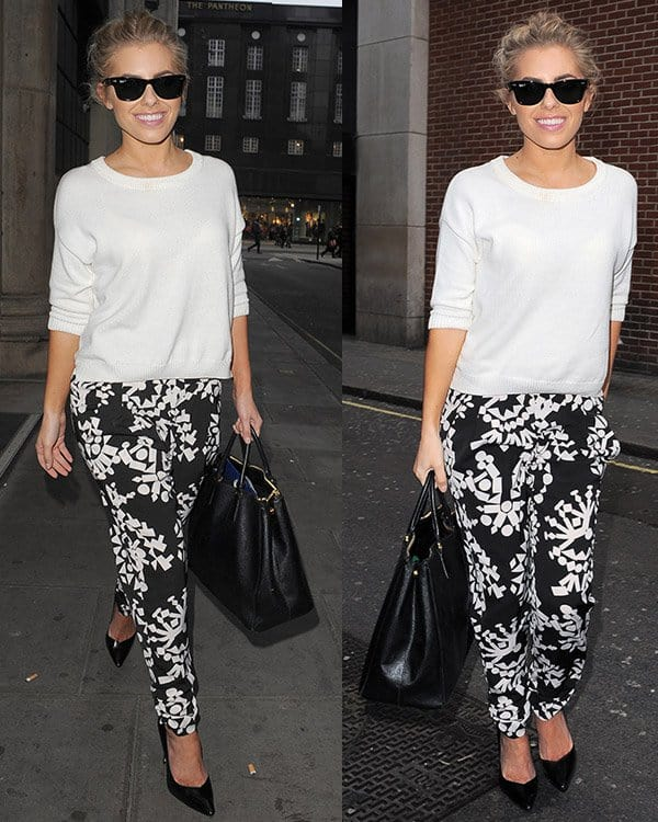 Mollie King's tribal printed black-and-white pants