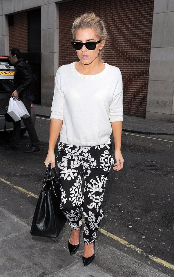 Mollie King of The Saturdays wearing black Pied a Terre Aba pointed courts