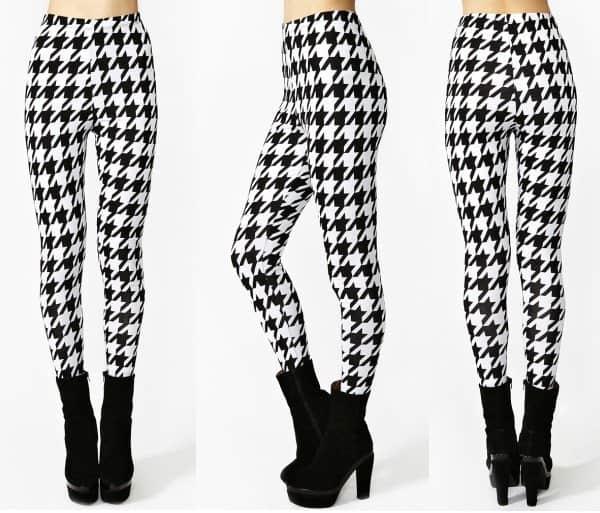 Black and White Houndstooth Leggings
