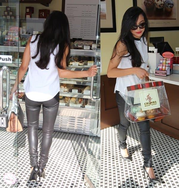 Naya Rivera visits Crumbs Bake Shop on Little Santa Monica in Beverly Hills