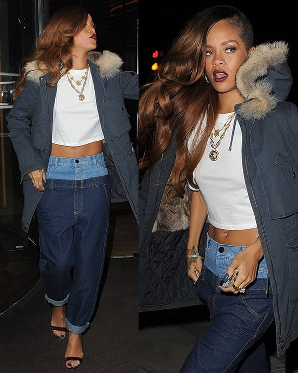 Rihanna arriving back at her hotel following a late night out