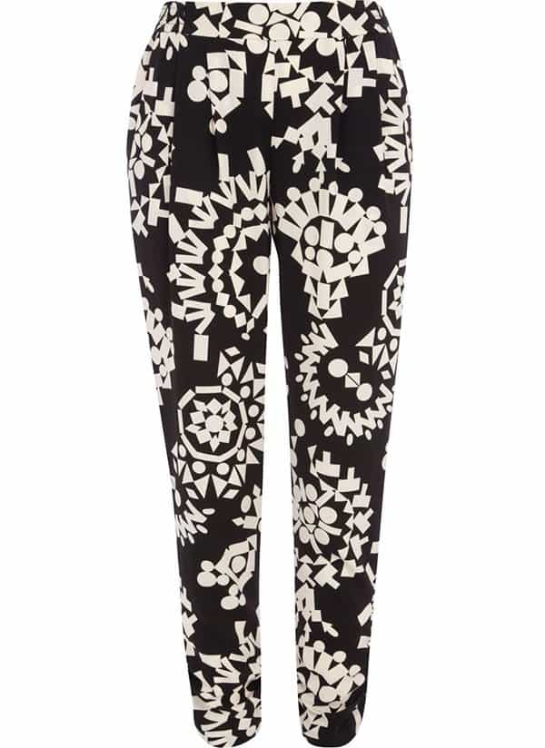 River Island Black-and-White Tribal-Print Trousers