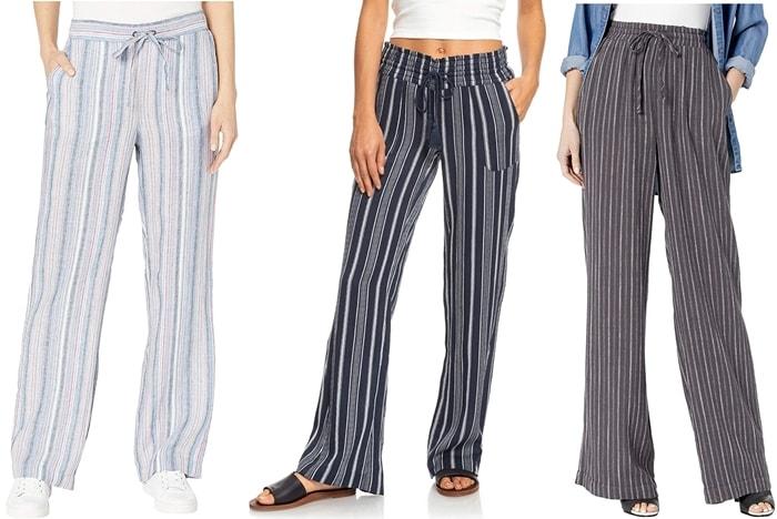 Vince Camuto Drawstring Wide Leg Cabana Stripe Pants / Roxy Oceanside Pants Yarn-Dye / Splendid Mead Wide Leg