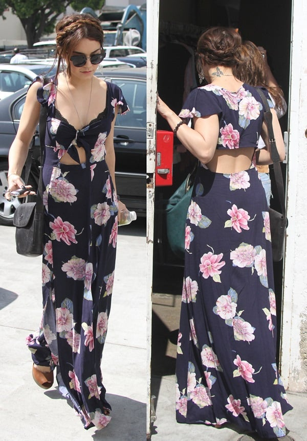 Vanessa Hudgens entering and exiting through the back entrance of Planet Blue in Los Angeles