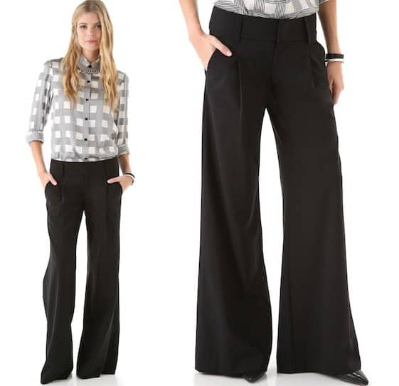 Alice + Olivia Eric Wide-Leg Pants in Black