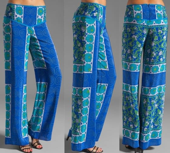 Anna Sui Printed Wide-Leg Pants in Royal